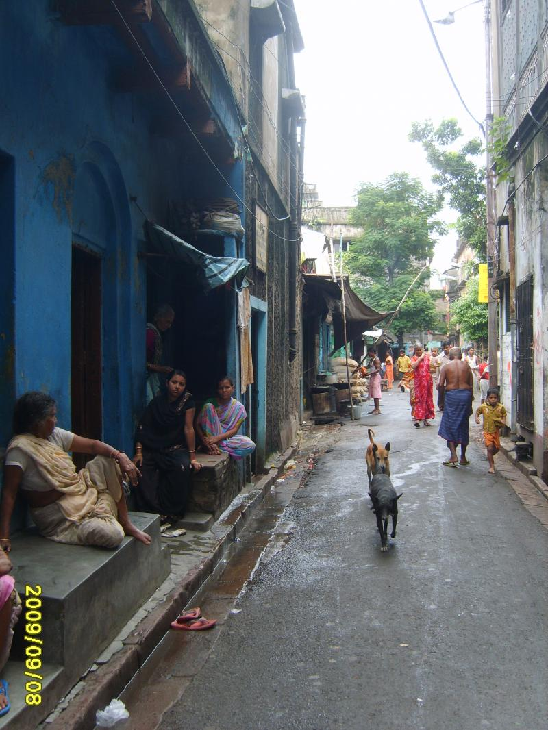 Street on which the school is situated in Sonagachi, Kolkata, India.