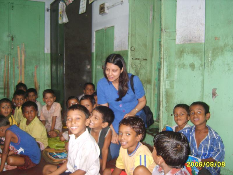 With the children in class in Sonagachi, Kolkata